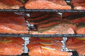 photo of salmon on smoking racks